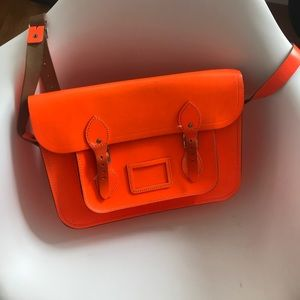 Cabridge neon orange satchel bag
